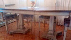 PURE WHITE OAK DINING TABLE AND 8 CHAIRS
