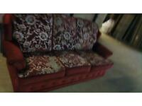 Free delivery mint condition sofa red fabric couch