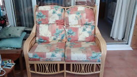 conservatory cane frame 2 seater sofa and matching armchair with removable cushions