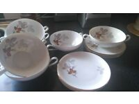 Thomas KPM Krister Leaf Pattern set of 6 soup bowls and saucers / Vintage