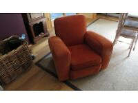 Orange Sofa with 2 matching armchairs (worn and faded in places)