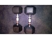 Black hex rubber dumbbells.
