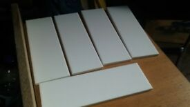 WALL TILES FOR SALE, JOHNSON BRICK STYLE WHITE GLAZED WALL TILES,300MM X 100MM.10 SQUARE METRES £100