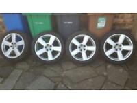 "Genuine Audi S Line 18"" 5 spoke Alloy Wheels 5x112 vw seat skoda"