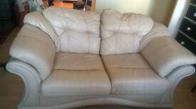 2/2seater leather sofa cream