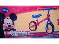 "mickey mouse balance bike 10"" wheels brand new & boxed"
