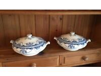 Vintage Britannia Pottery Tureens Blue and White