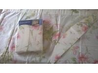 TWO UNUSED SETS OF CURTAINS WITH TIE BACKS 66 width x 54'' length/ 168cm width x 137cm length