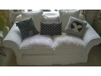cream Laura Ashley 2 seater sofa feather cushions