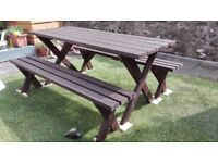 FOR SALE GARDEN HANDMADE FURNITURES, TABLE AND TWO BENCHES