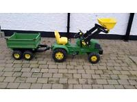 Used john deere pedal tractor with front loader and twin axle tipping trailer.