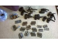 7 pairs of balcolite door handles and spindles as well as 14 hinges