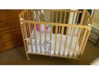 Saplings Baby space saver Cot natural wood