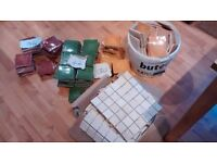 Assortment of tiles, red, blue, yellow, green with white square border tile, excellent condition.