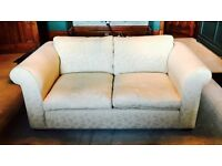REDUCED - Laura Ashley Medium 2-Seater Sofa - Cream/Beige Damask Fabric - LIKE NEW!