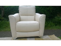 Ex-display Designer Cream Leather Arm Chair with Chrome Feet