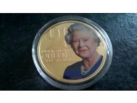 HER MAJESTY THE QUEEN 90TH BIRTHDAY, COLOURED COIN