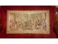 Vintage Victorian Music Parlor Scene Framed Tapestry