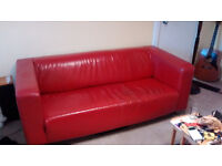 2 x Ikea Red leather sofas