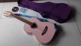 Candy Rox Pink Love Heart Accoustic Guitar With Case And Accessories