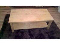 Solid Natural Oak Coffee Table in excellent condition