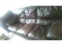 3-SEATER USED BROWN LEATHER COUCH AND MATCHING RECLINER ARMCHAIR FOR SALE