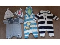 Bundle of baby clothes 0-3 months, different brands, Adidas shoes too