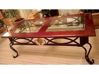 BEAUTIFUL COFFEE TABLE/OCCASIONAL TABLE//SOFA TYPE EASY CHAIR COMFORTABLE&PRACTICAL./WICKER BASKET.