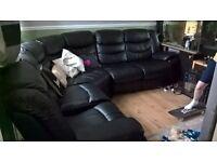 Large Leather Reclining Corner Sofa