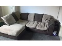 Brown Corner Sofa & Foot Stool