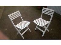 x2 White Garden Chairs - different ! (Plastic)