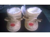 Furry Reindeer Booties