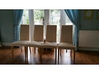 X4 beige and pine dining chairs