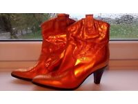 Brand new cool Funky lady real leather cowboy boots shiny various colors size 5 Brasil £15 each
