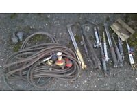 Various Cutting & Gas Welding Guns & Nozzles gauges & hoses. In total 11 guns & 2 anti return valves