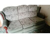 green dralon 3 seater sofa and armchair