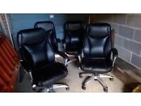 Black Faux Leather Office Chairs ,2 in total (in good working order but with some flaking)