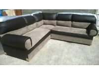 Brand New Corner Sofa Brown Leather & Beige Material Unused Still In Wrappers £350 Can Deliver