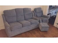 FREE Blue two seater sofa with armchair and footstool