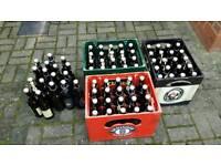 80 x 0.5 litre empty beer swing top bottles plus 3 crates