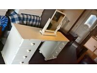 White painted dressing table with mirror