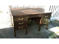 Antique Oak Industrial Double Pedestal Desk