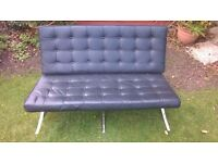 Barcelona Two Seater Sofa - Leather & Chrome