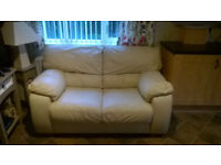 CREAM LEATHER 2 SEATER & RECLINER CHAIR (FREE 3 SEATER SOFA INCLUDED)