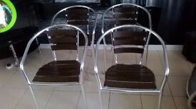LOVELY SET OF 4 ALUMINIUM AND WOOD BISTRO CHAIRS , CAFE , GARDEN