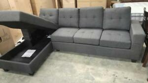 HOT DEAL FOR 499$: CASH AND CARRY SECTIONAL WITH LIFT UP STORAGE IN CHAISE.