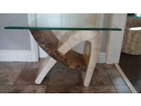 Glass top marble side table/cofee table