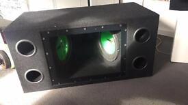 "VRX Twin 10"" Subwoofer in case, Shark V9 1000W Amp 6X9 Speakers"