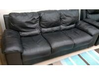 SOFA AND ONE RECLINING CHAIR IN BLACK LEATHER