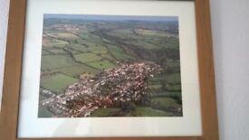 Framed ariel photo of Croscombe village